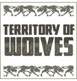 Retro ornament - running wolves and inscriptions vector image vector image