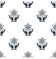 seamless atom on hand pattern education symbol vector image