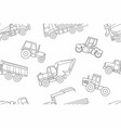 seamless pattern construction machines thin line vector image