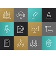 Single Line Business Pictograms Set vector image vector image