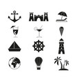 travel sand beach icons vector image vector image