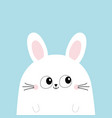 white bunny rabbit head face funny head face big vector image vector image
