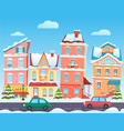 winter cartoon city landscape christmas vector image vector image