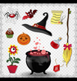 witch accessories set in red color isolated on vector image vector image