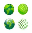 Set of Green Globe Icons vector image