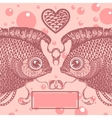 two lovers vintage fish vector image