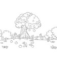 a coloring bookpage landscape with tree aplle vector image