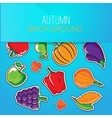 Autumn background with vegetables and fruits vector image