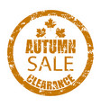 autumn sale clearance rubber stamp isolated on vector image