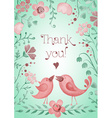 Beautiful greeting card with flowers and birds vector image vector image