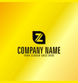 black letter z emblem with golden background vector image vector image