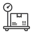 box on storage scale line icon logistic vector image
