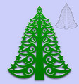 christmas tree cut from paper pattern for design vector image vector image