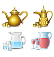 collection of the teapot with cups on white backgr vector image vector image