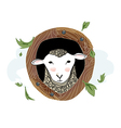 Cute sheep portrait with wood wreath vector image vector image