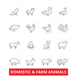 domestic farm animals line icons cow dog cat vector image vector image