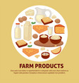 farm products dairy food milk and cheese eggs and vector image
