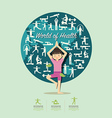 Flat Icons with yoga girl character design vector image
