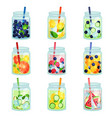 flat set of delicious detox drinks with vector image