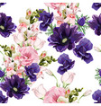 floral seamless pattern with pink eustoma vector image vector image