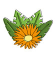 flower with leaves vector image