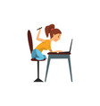 girl working with tablet in front computer vector image