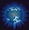 globe labyrinth - maze with illumination vector image vector image
