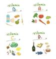 Group vitamins healthy food vector image vector image