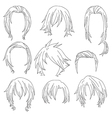 Hair styling for woman drawing Set 3 vector image vector image