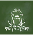 hand drawing frog on green board vector image