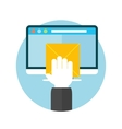 Hand with letter and computer monitor vector image