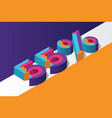 isometric 55 percent off 3d sale background vector image vector image