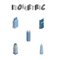 isometric building set of exterior skyscraper vector image vector image