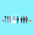 just married bride and groom with african american vector image
