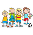 kid boys with toys cartoon vector image vector image