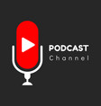 logo or icon podcast channel with black vector image vector image