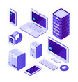 mobile devices isometric set computer server and vector image