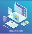 mobile web analytics concept flat isometric vector image vector image