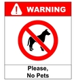no pet allowed sign no dogs vector image vector image
