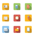 Office things icons set flat style vector image vector image