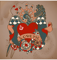 Old-school style tattoo card with swallow flowers vector image vector image
