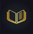 open book education gold logo vector image vector image