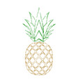 pineapple grunge with leaf tropical gold exotic vector image vector image