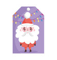 Santa claus lights decoration merry christmas tag