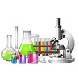Science equipment with microscope and beakers vector image vector image
