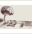 sea view from a bench in garden hand drawing vector image vector image