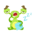 Sleepy Funny Monster Yawning WIth Pillow Green vector image vector image