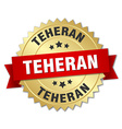 Teheran round golden badge with red ribbon vector image vector image