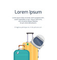 template with space tourists suitcase with an vector image vector image