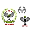 Tennis tournament emblems with sport items vector image vector image